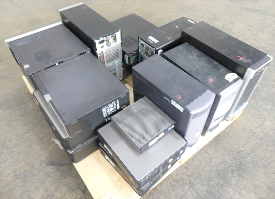 Pallet of 16 Assorted Brand (SFF/Midi) Desktop No Hard Drives