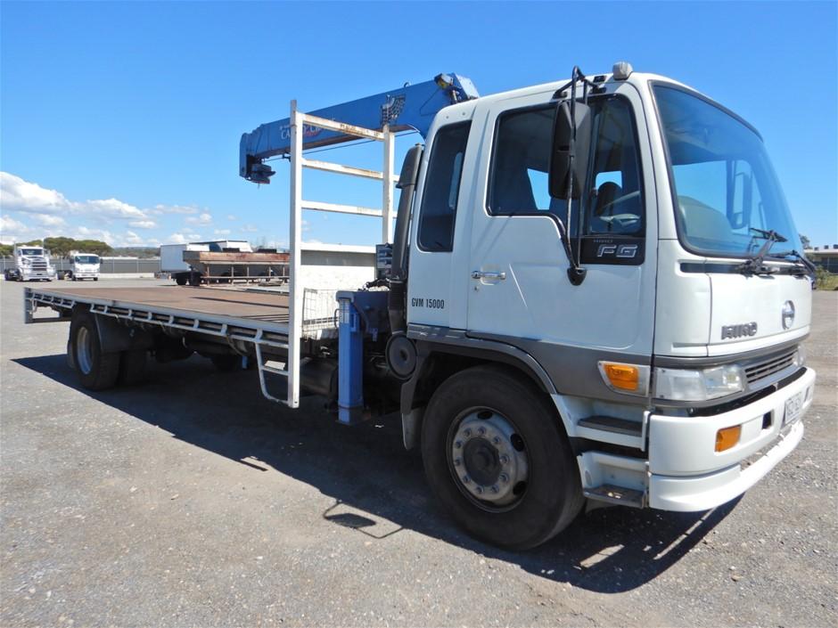 1997 Hino FG1J 4x2 Tray Body Truck With Cargo Crane (Pooraka, SA)