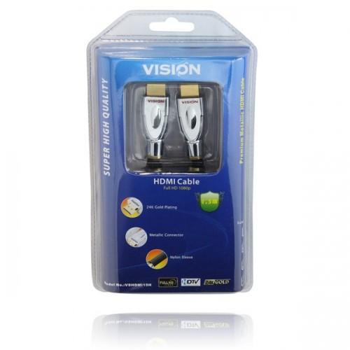 4 x VISION Gold Premium Quality 1.5M HDMI Cables
