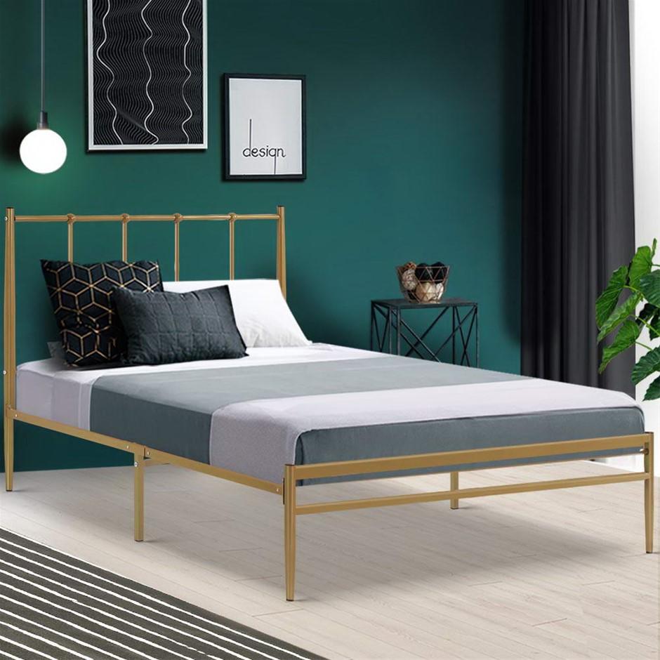 Metal Bed Frame Single Mattress Base Platform Foundation Wooden Gold Amor