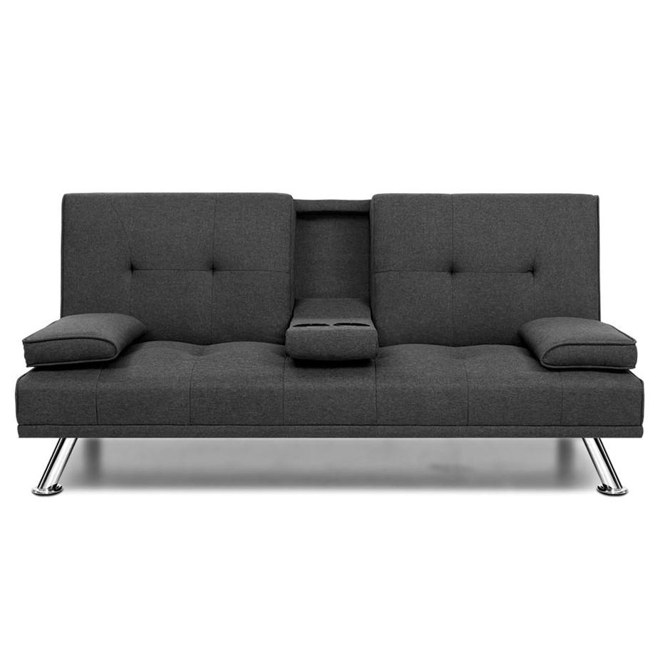 Artiss Linen Fabric 3 Seater Sofa Bed Recliner Cup Holder Futon Dark Grey