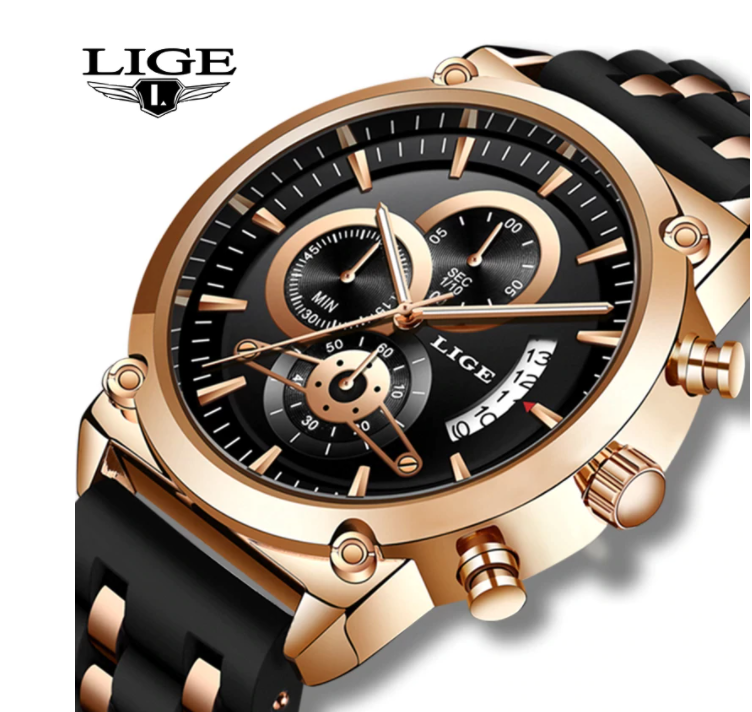 LIGE Men Business Luxury Quartz Chronograph Water-Resistant Silicone Watch