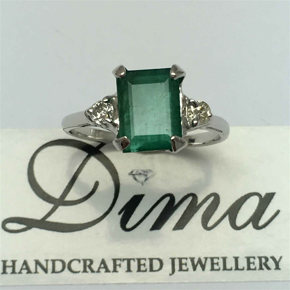 18ct White Gold, 2.44ct Emerald and Diamond Ring