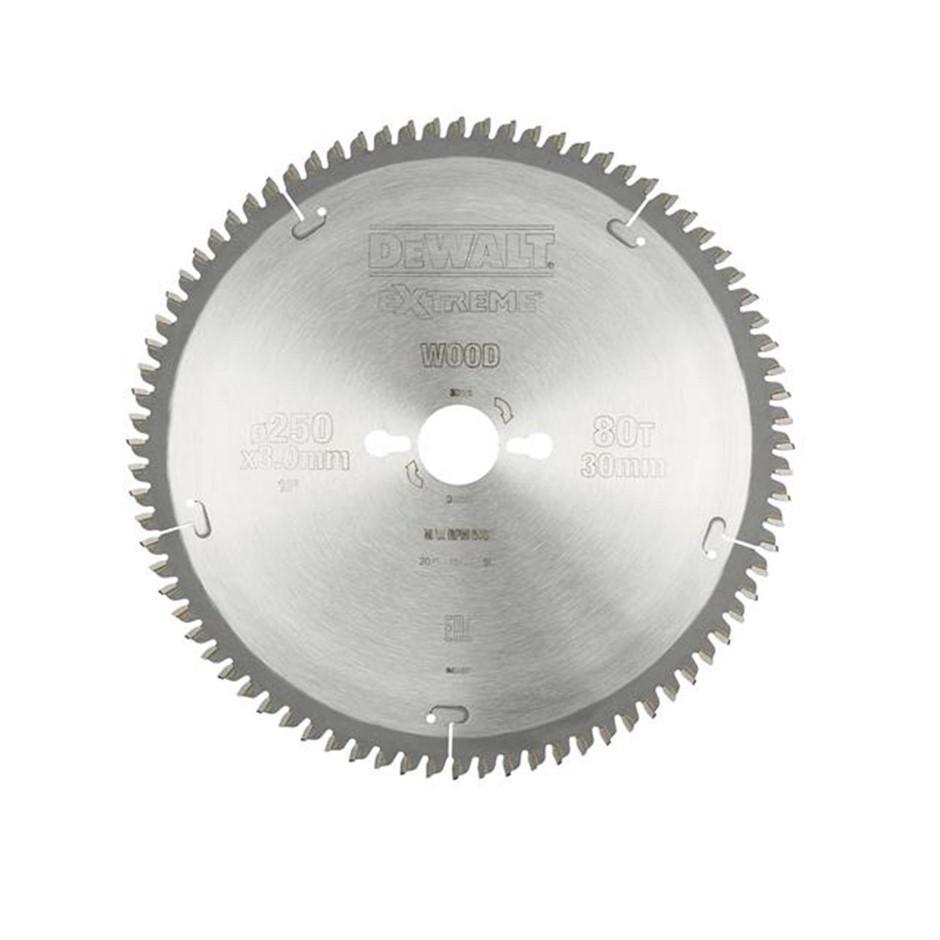DeWALT Extreme Mitre Saw Blade 250 x 30mm x 80 Teeth (SN:DT4287-QZ) (277153