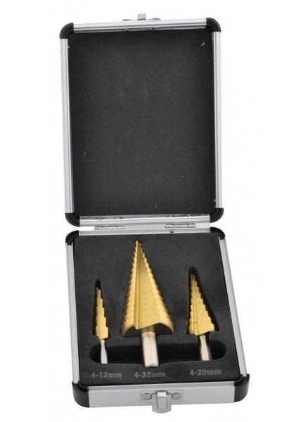 ROLSON 3pc Step Drill Set in Aluminium Case, Size 4-12mm, 4-32mm & 4-20mm.