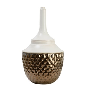 Alloy Feather Pot with Lid (Size: 24d x