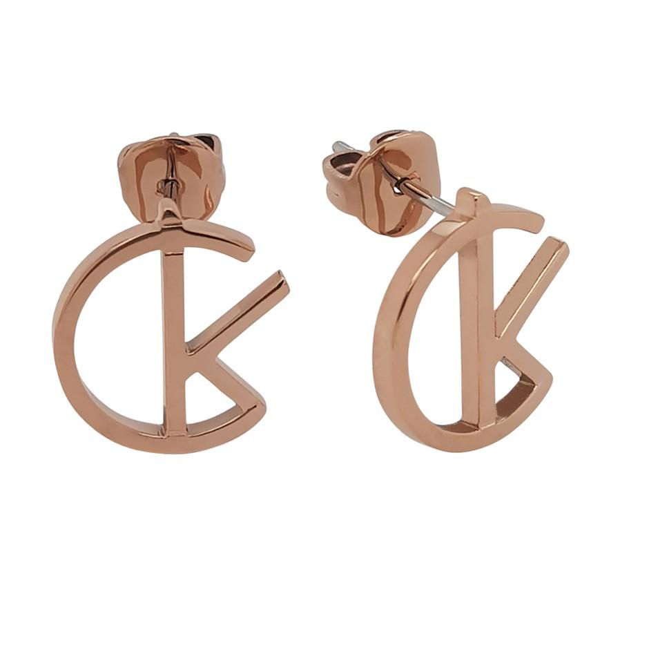Ladies Calvin Klein Rose Gold Plated League Earrings