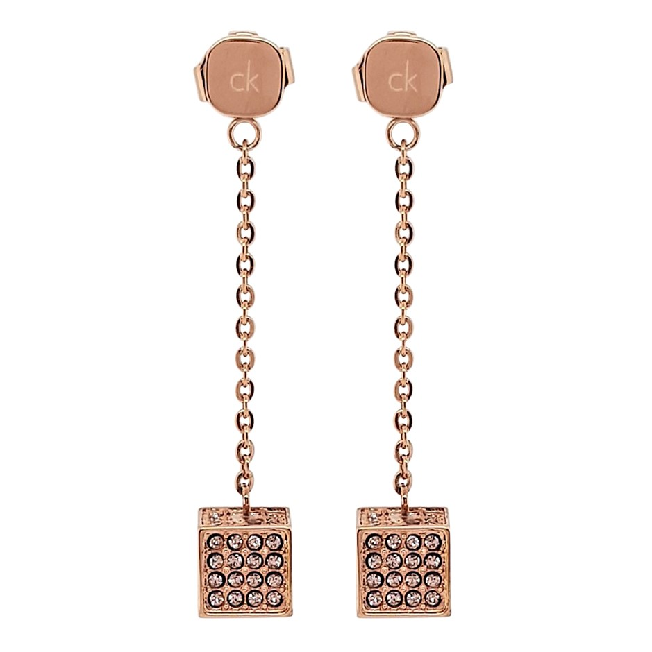 Calvin Klein Rocking Rose Gold Long Drop Earrings