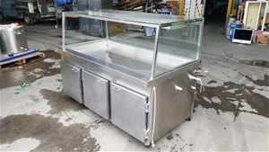 Stainless Steel 3 Door Fridge with Glass