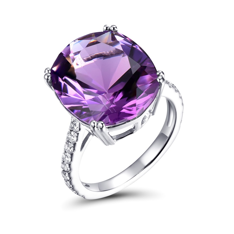 18ct White Gold, 13.73ct Amethyst and Diamond Ring