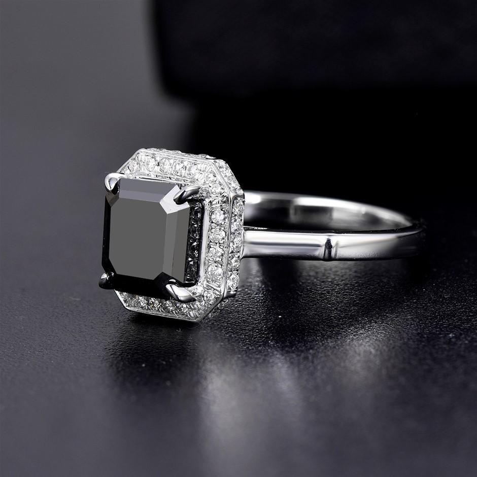 18ct White Gold, 2.56ct IGI Diamond Ring