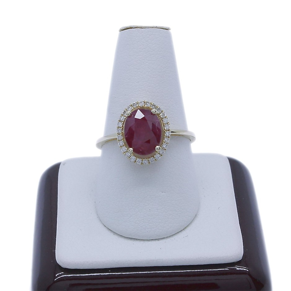 9ct Yellow Gold, 2.03ct Ruby and Diamond Ring
