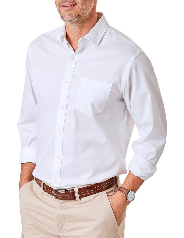 GAZMAN Easy Care Plain Twill. Size L, Colour: White. 100% Cotton. Buyers No
