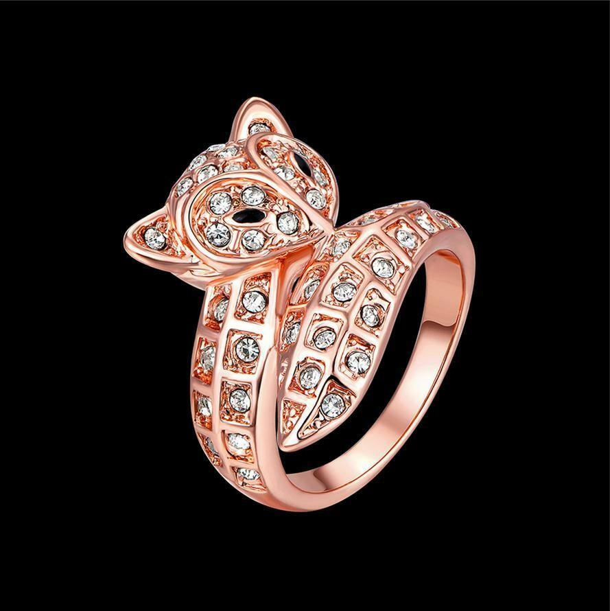 18k Rose Gold Plated Women's Clear Crystal Cute Fox Ring