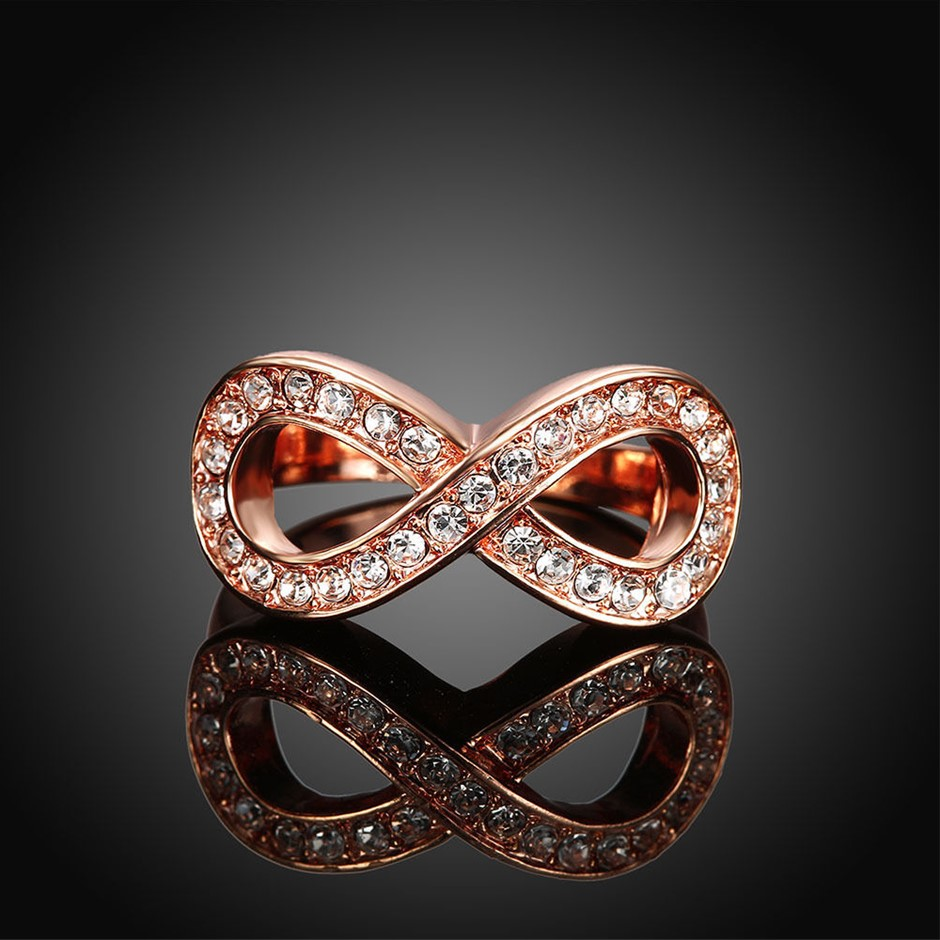 18K Rose Gold filled Crystal Infinity Wedding Engagement Ring