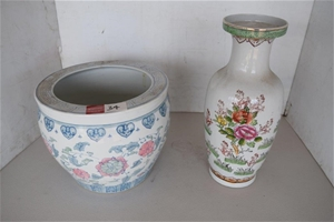 Lot of 2 Painted Ceramic Pot Planter and