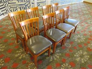 8 x Wooden Dining Chairs with Vinyl Cush