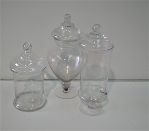 Assorted Glass Candy Jar with lids