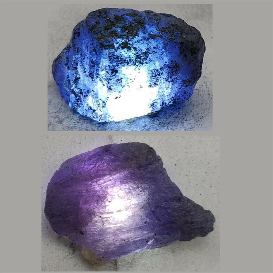 71ct (2pcs) Tanzanite rough cut gemstone