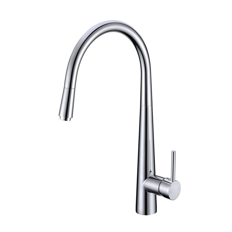 Round Chrome 360° Swivel Pull Out Kitchen Sink Mixer Tap Solid Brass