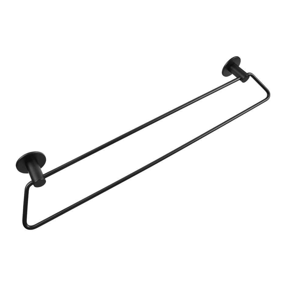 600mm Self Adhesive Black Double Towel Rail Wall Mounted Drill Free