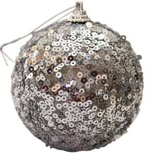 9 Pack Christmas Balls: Silver sequinned