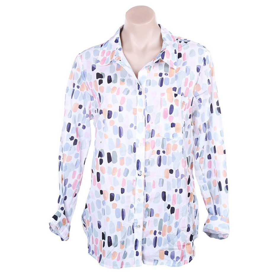 YARRA TRAIL Long Sleeve Terrazzo Spot Shirt. Size 14, Colour: Multi. Buyers