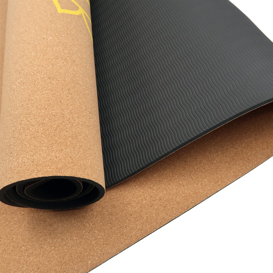 Powertrain Cork Yoga Mat with Carry Straps Home Gym Pilate Exercise Chakras