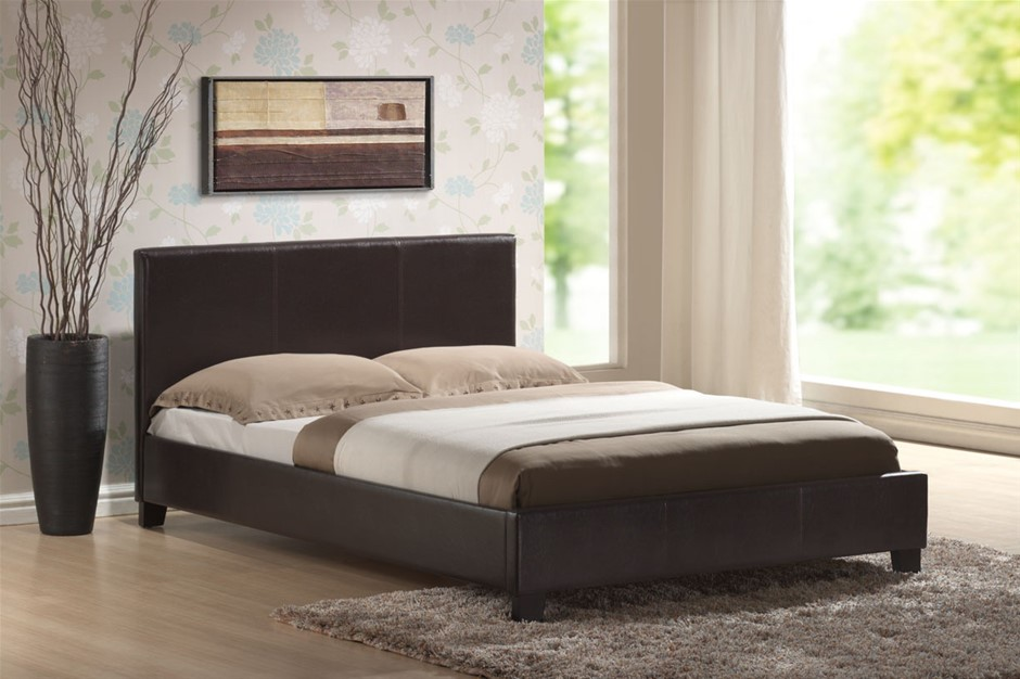 Double Size Leatheratte Bed Frame in Brown with Metal Joint Slat Base