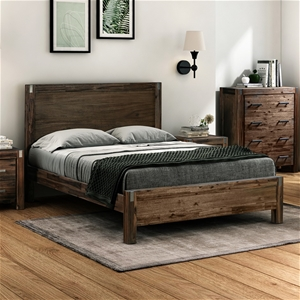 Queen Bed Frame Solid Acacia Wood with M