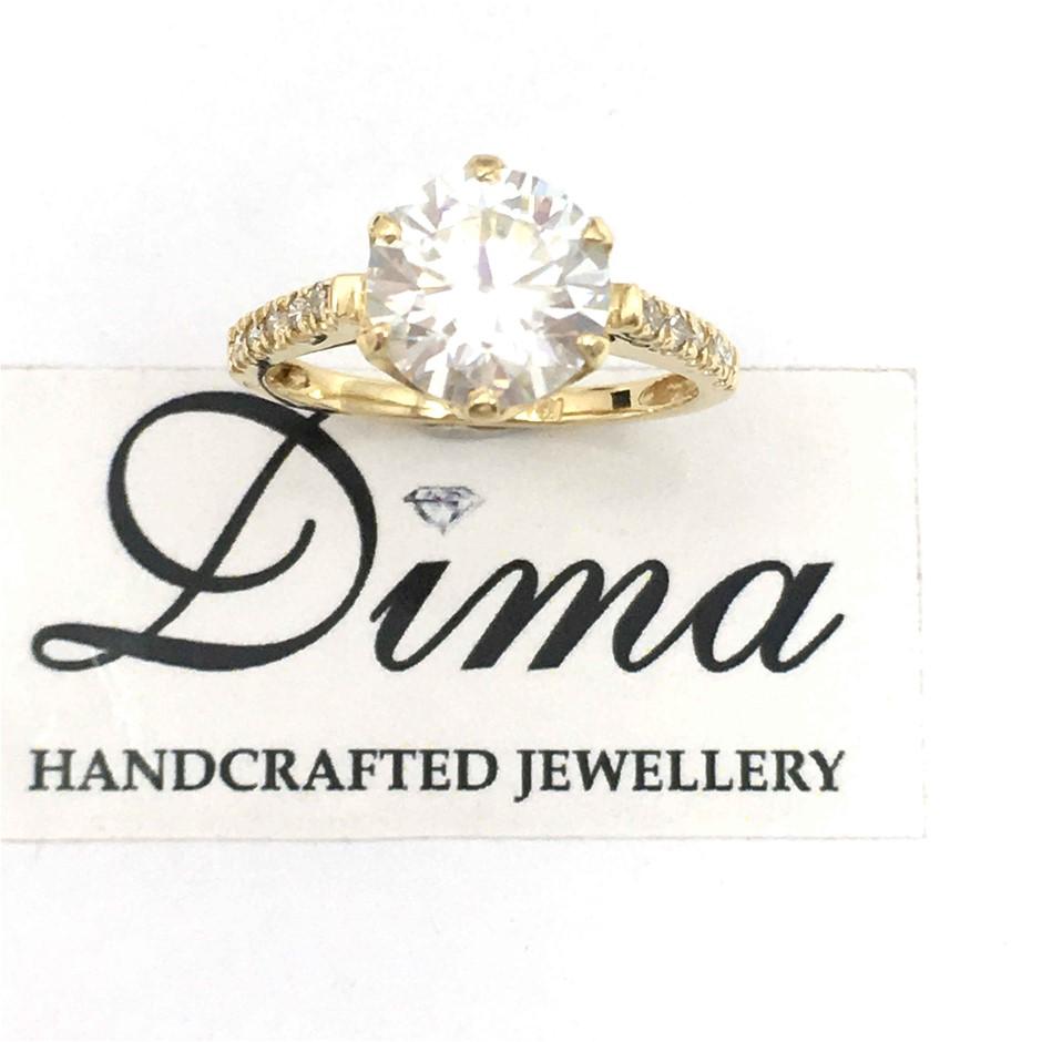 18ct Yellow Gold, 2.46ct Mossanite and Diamond Engagement Ring