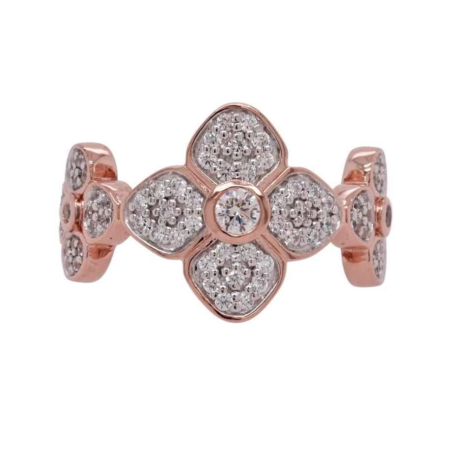 Ladies Rose Gold Vermeil White CZ Flower Petal Ring.