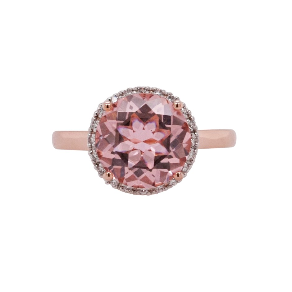 Ladies Rose Gold Vermeil Morganite (CR) & White CZ Halo Ring.