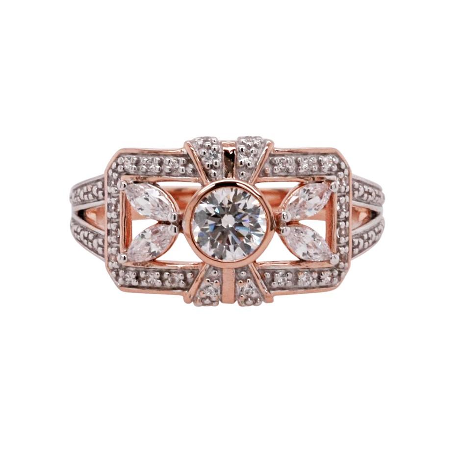 Ladies Pink Gold Vermeil & White CZ Vintage Design Ring.