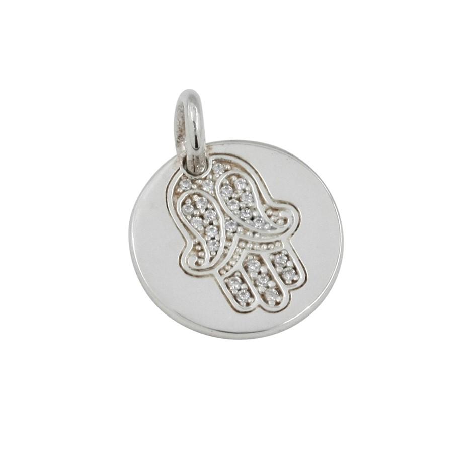 Thomas Sabo Sterling Silver Hand of Fatima Engravable Pendant.