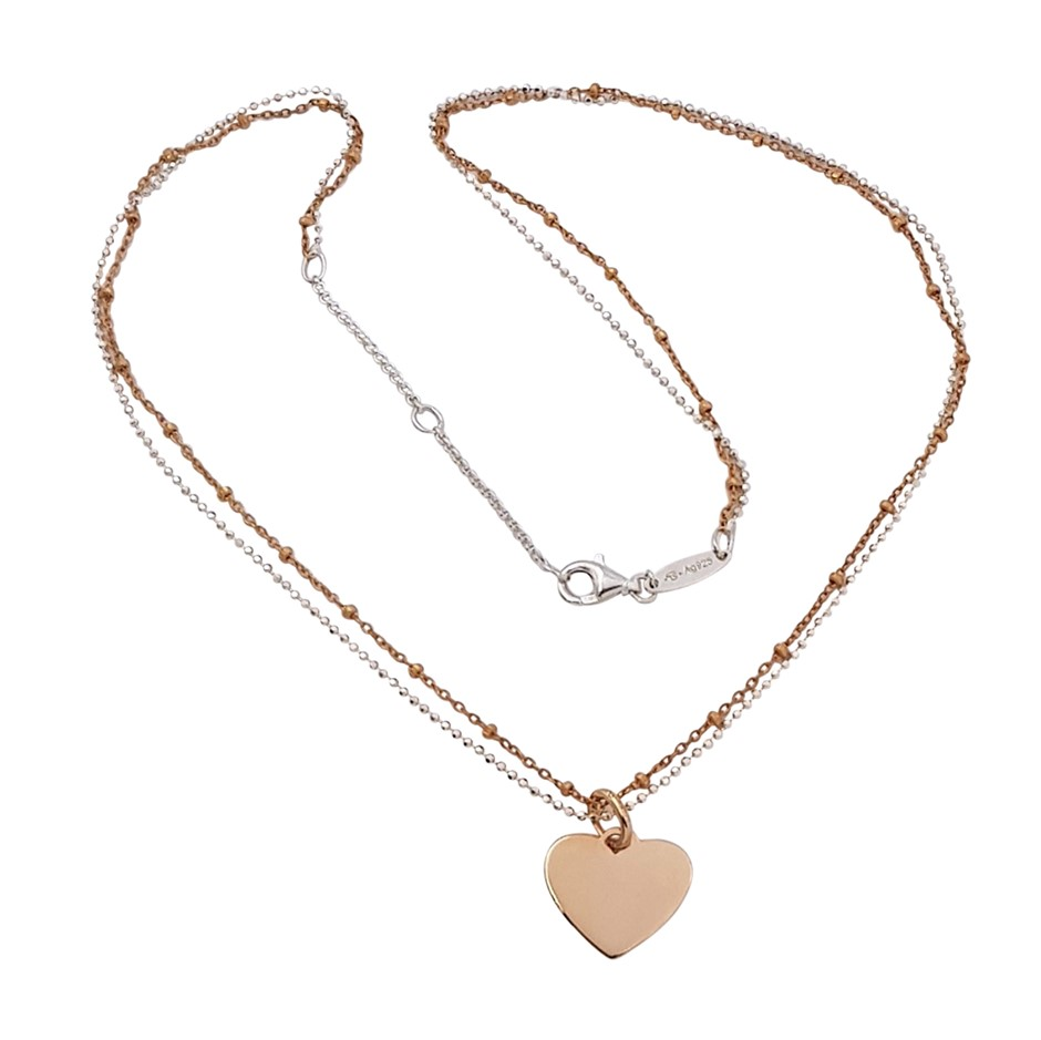 Thomas Sabo Rose Gold Plated Heart Double Chain Necklet.