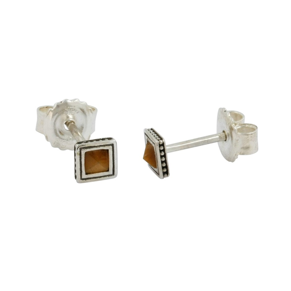 Thomas Sabo Tigers Eye Oxidised Stud Earrings.