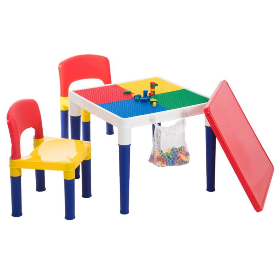 Delsun Kids Table & 2 Chairs Plastic Set w/ 100pc Building Block