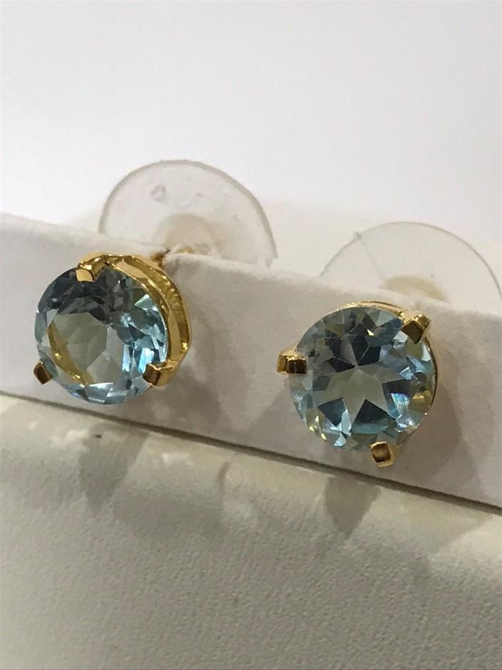 Blue Topaz Genuine 3.10ct & Y/Gold Vermeil Stud Earrings