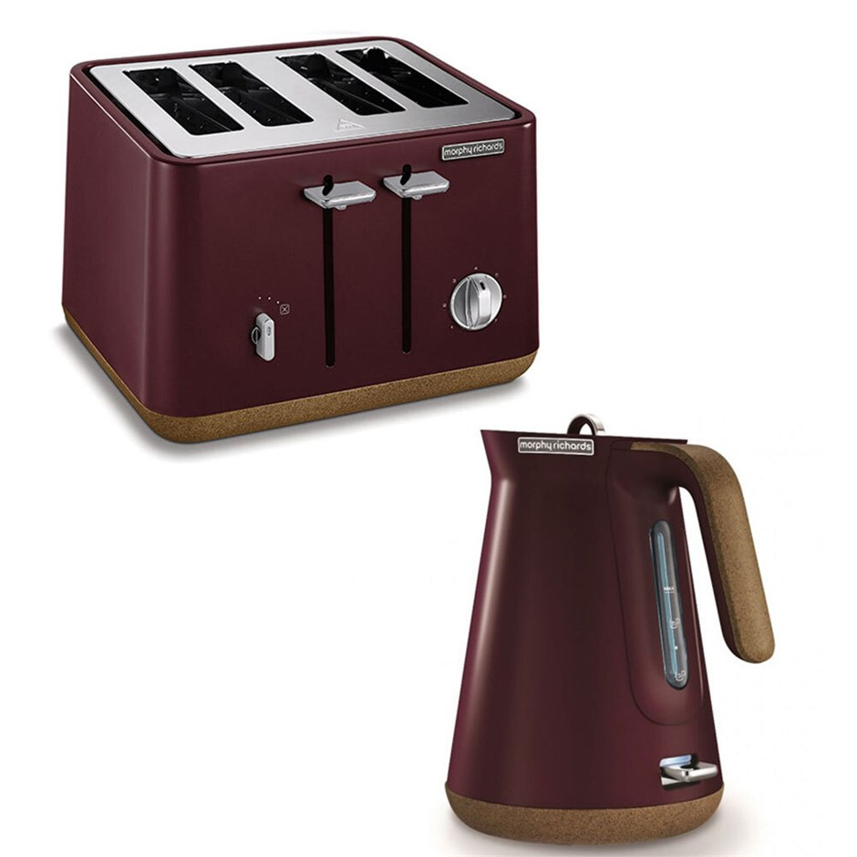 2pc Morphy Richards Aspect Cork Electric Kettle/Toaster - Maroon