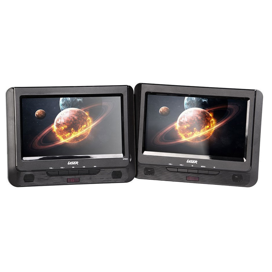 "Laser Portable Dvd Player Dual 9"" Screen In Car W/ Headrest Mount Holder"