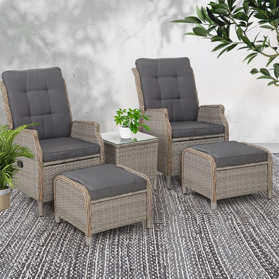 Gardeon Recliner Sun lounge Outdoor Setting Patio Furniture Garden Wicker