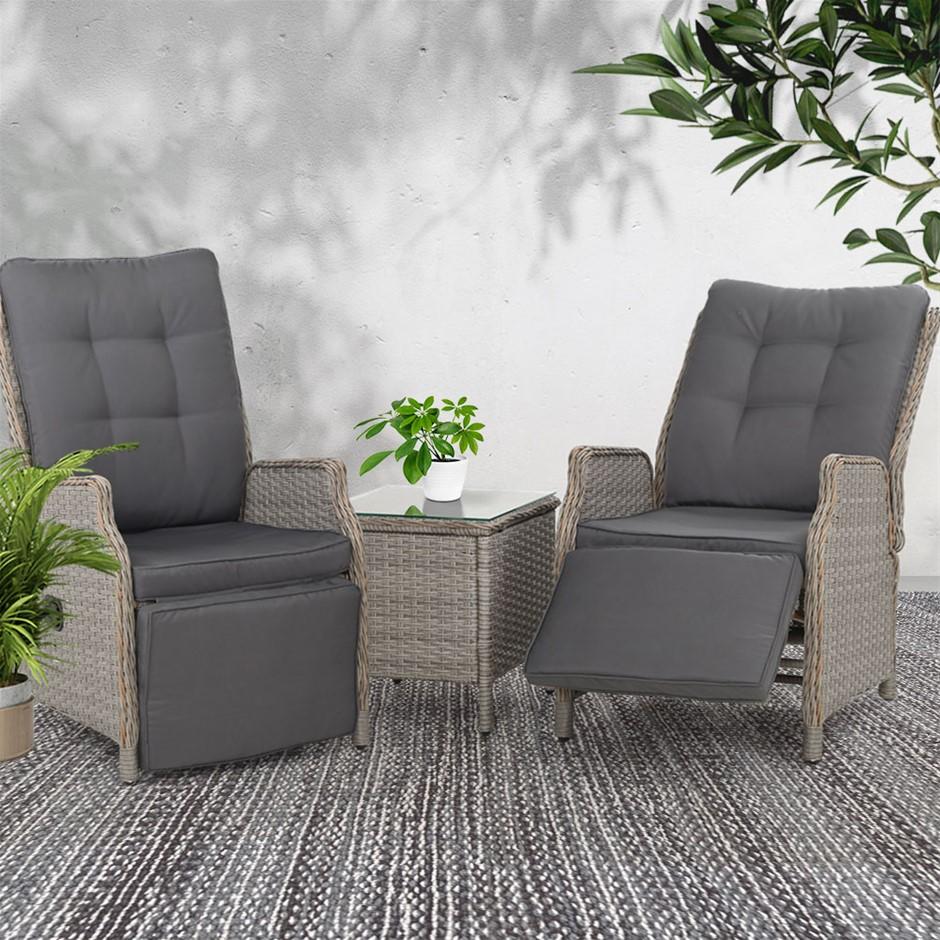 Gardeon Recliner Outdoor Sun lounge Setting Patio Furniture Wicker Sofa