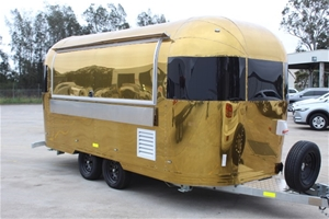 Gold Airstream Trailer Kitchen Catering