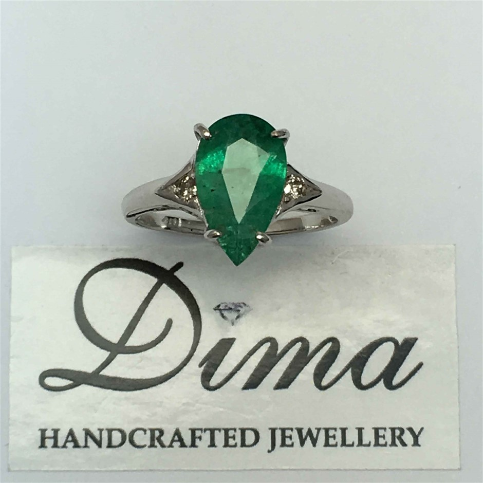 18ct White Gold, 2.08ct Emerald and Diamond Ring