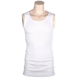 4 x Ribbed Cotton White Singlets Size M,