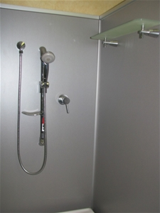 shower fitting chrome adjustable height rail with hand held shower head f auction 0021. Black Bedroom Furniture Sets. Home Design Ideas