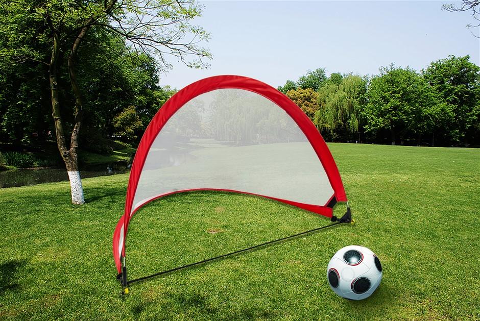 Portable Kids Soccer Goals Set & 2 Pop Up Soccer Goals Cones Goal Carry Bag