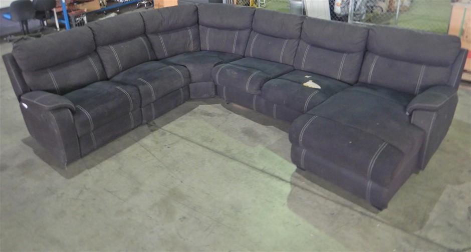 Porter 6-Seater Modular Lounge with Sofa Bed Onyx, No Mattress (Pooraka SA)