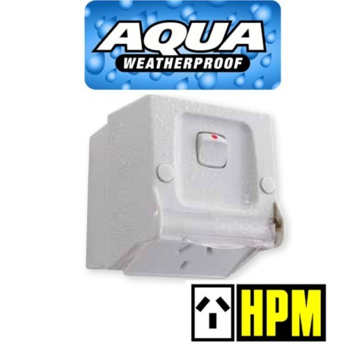 HPM AQUA Weatherproof IP54 Single Switched Powerpoint GPO Outlet Socket 10A